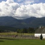 barn and mountains at chief joseph ranch