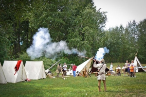 firing a lewis and clark replica firearm at travellers rest lolo montana