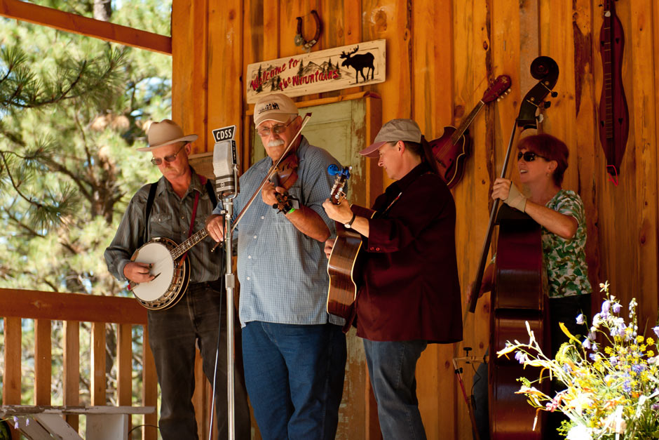 musicians playing at a bluegrass festival in bitterroot valley, montana