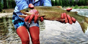 fisherman holding bitterroot cutthroat trout in montana river