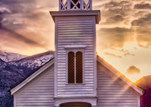St Mary's mission in Stevensville Montana at sunset