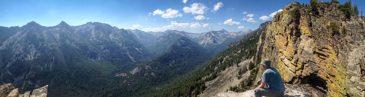 hiker at bear creek overlook, bitterroot valley, montana