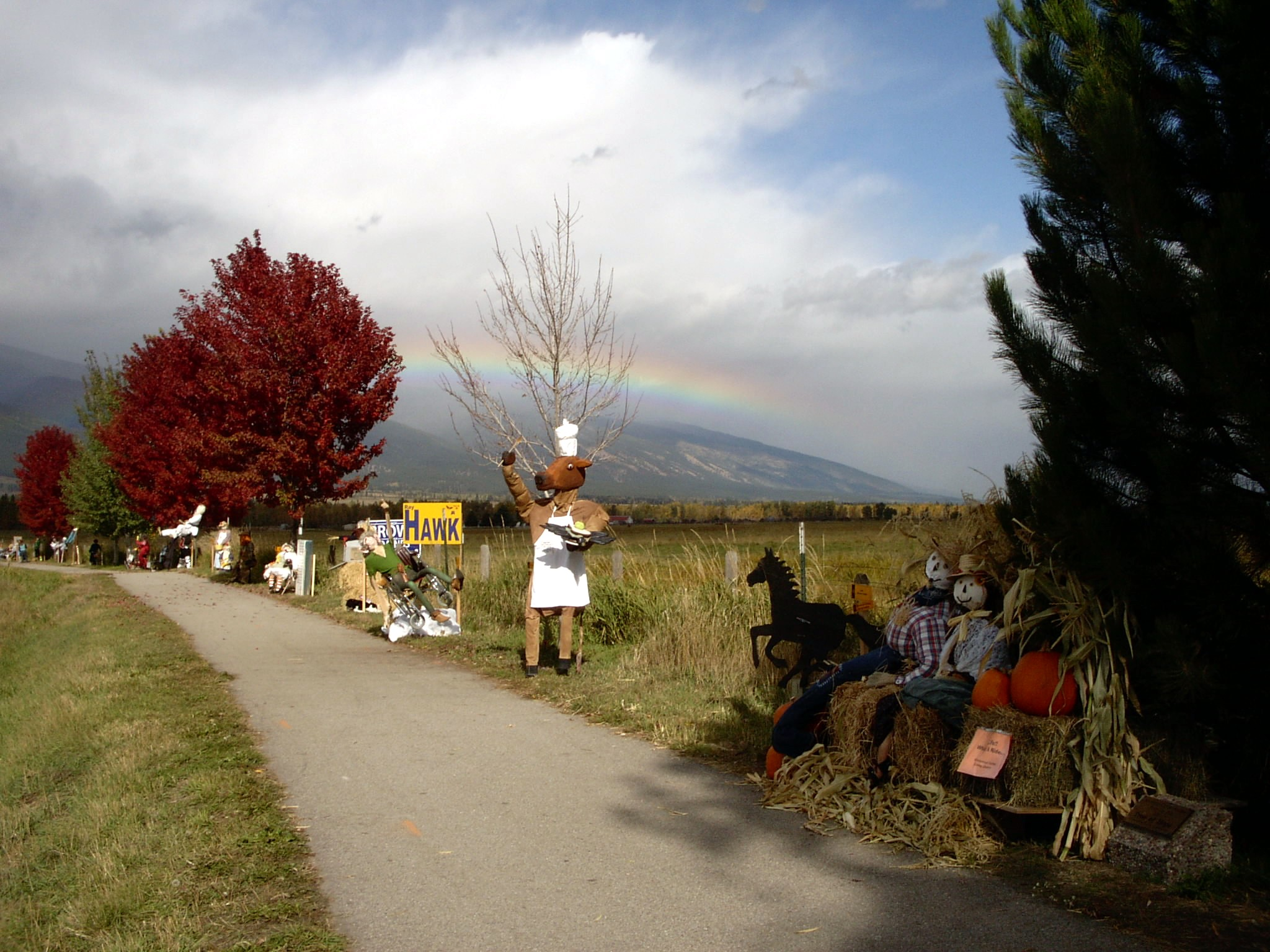 Scarecrows in a line for the festival in Stevensville, Montana