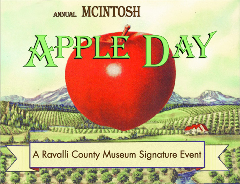 apple day festival poster showing orchards and apples