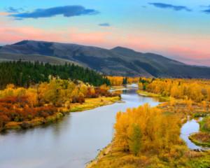 bitterroot river in fall colors