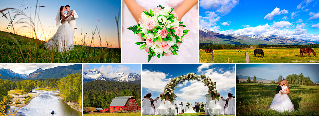 collage of images from weddings in bitterroot valley montana